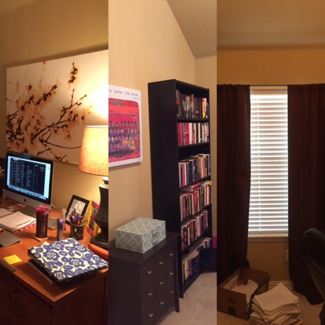 Tan walls. Dark curtains. I think I was creating a literal writer's cave because with only one window, I definitely wasn't doing anything to help spread light around.