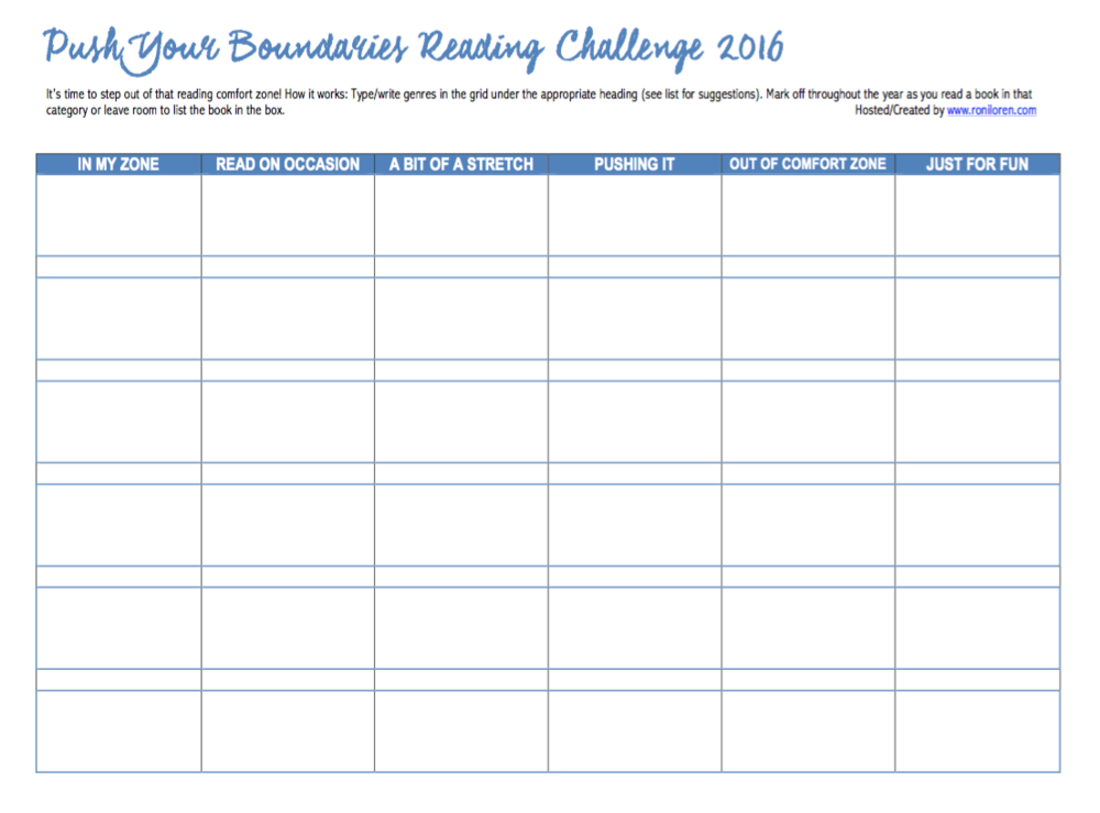 Push Your Boundaries Reading Challenge Blank