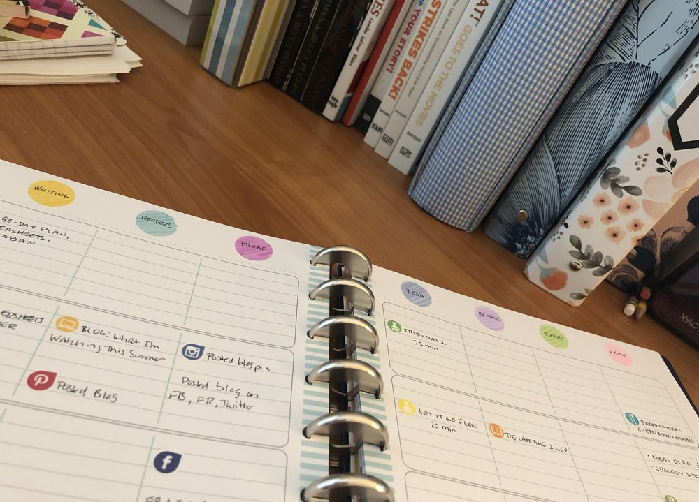 Each day has 7 columns. The categories I'm using are Writing, Readers, Business, Yoga, Input (basically how I fill the well), Budget, and Home.