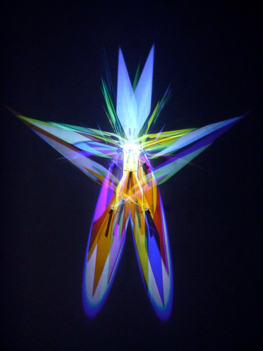 "Cathy Cunningham-Little, ""Transforming Isomer,"" 2015, glass, stainless steel, white LED, 52 x 48 x 4 inches"