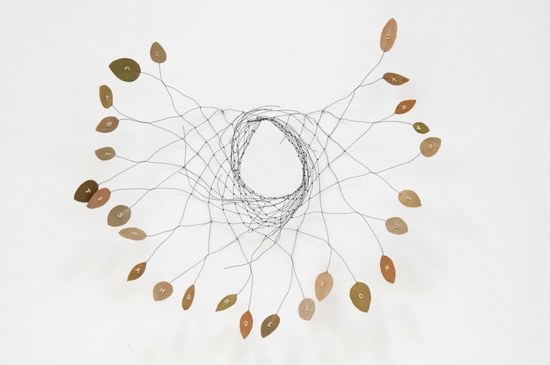 Alphanet, 2009, wire, manzanita leaves, pasta, 18 x 19 x 6 inches