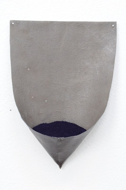 Leadindigo, 2013, lead, indigo pigment, 6.5 x 5 x 2 inches