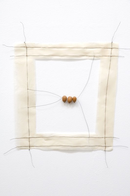 Row, 2009, paper, wire, acorns, 19 x 18 x 1 inches