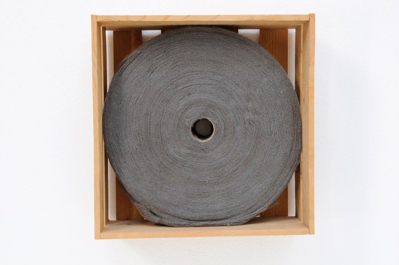 Spool, 1996-2001, steel wool, wooden box, 10.5 x 10.5 x 3.75 inches