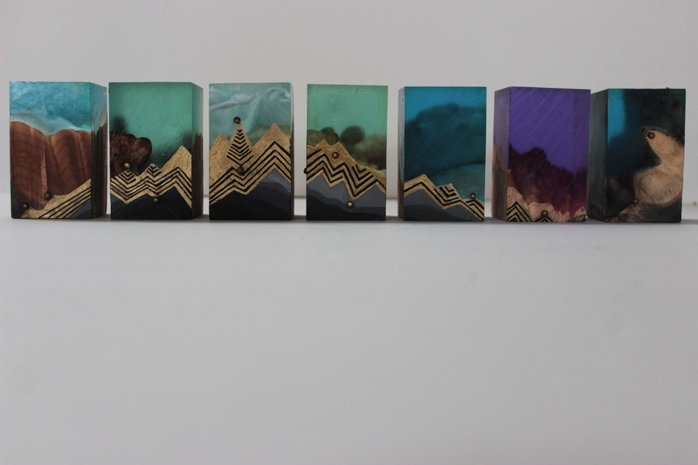 Lumenscape, 2014 gold leaf, oil, resin, wood 14 x 3 x 2 inches