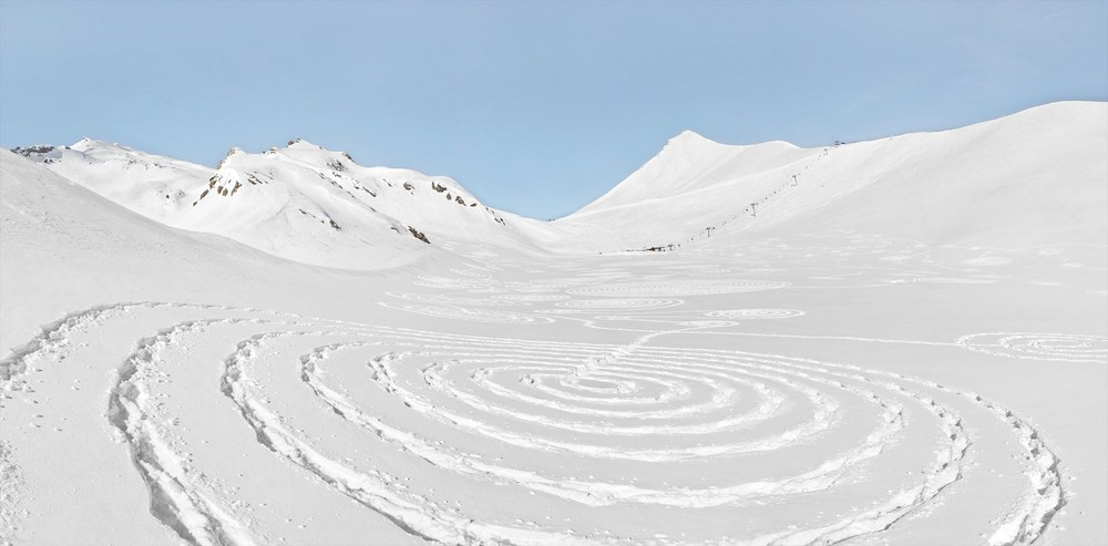 Sonja Hinrichsen Snow Drawings- Eychauda, France - 7076, 2014 archival photo inkjet print on Hahnemuehle Fine Art paper 25.5 x 36 inches