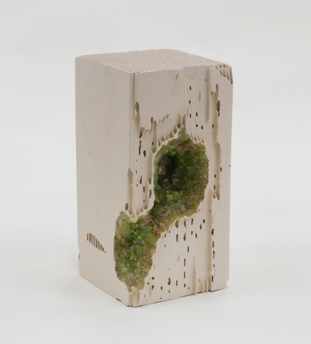 Green Vug, 2014 lead crystal embedded in engineered ceramic block  12 x 6 x 6 inches