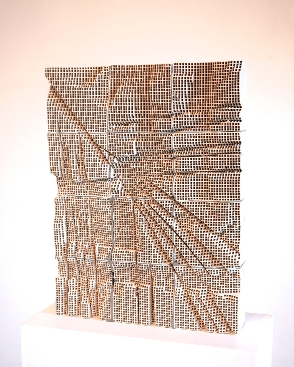 Slab #3, 2014 engineered ceramic block, cement  24 x 18 x 4 inches