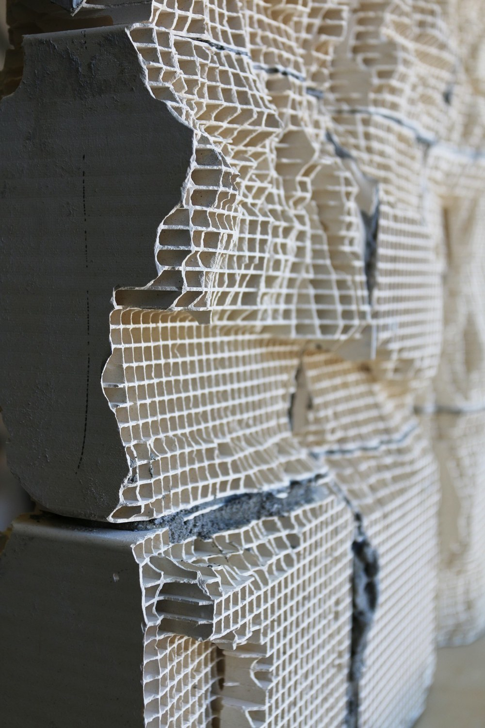 Studio detail of engineered ceramic work-in-progress