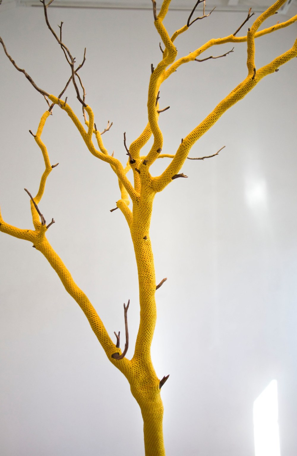 Esther Traugot Untitled (standing tree), detail, 2014 tree limb, dyed bamboo cotton yarn 90 x 54 x 27 inches