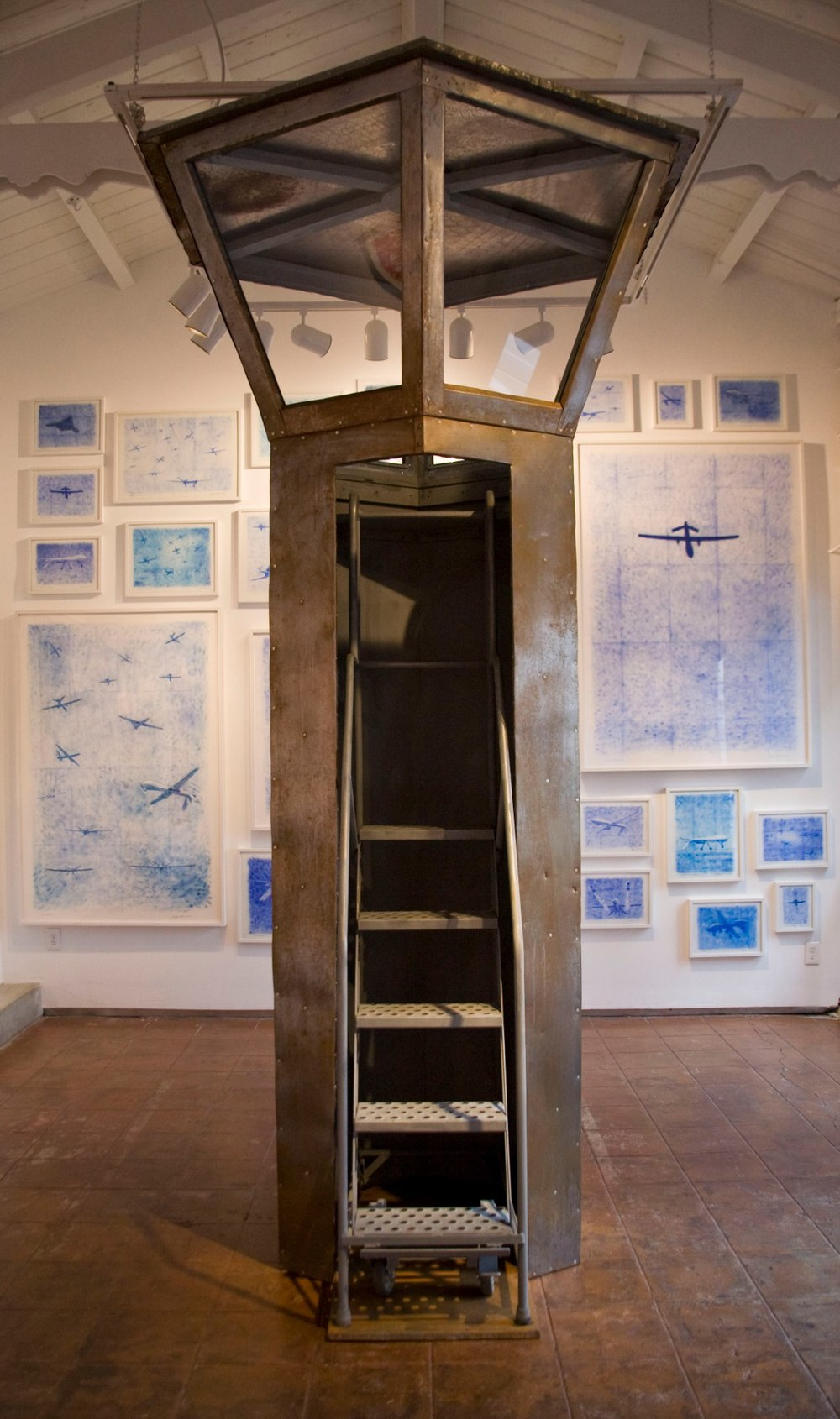 Stephen Whisler Observer, 2014 Sheet steel, wood, plexiglass 132 x 60 x 60 inches