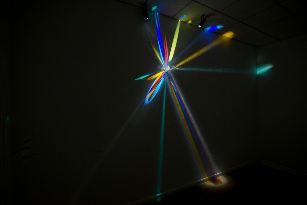 Cathy Cunningham-Little  Metamorphosis II, 2013 glass, stainless steel, light 120 x 46 x 5 inches photo by Kemp Davis