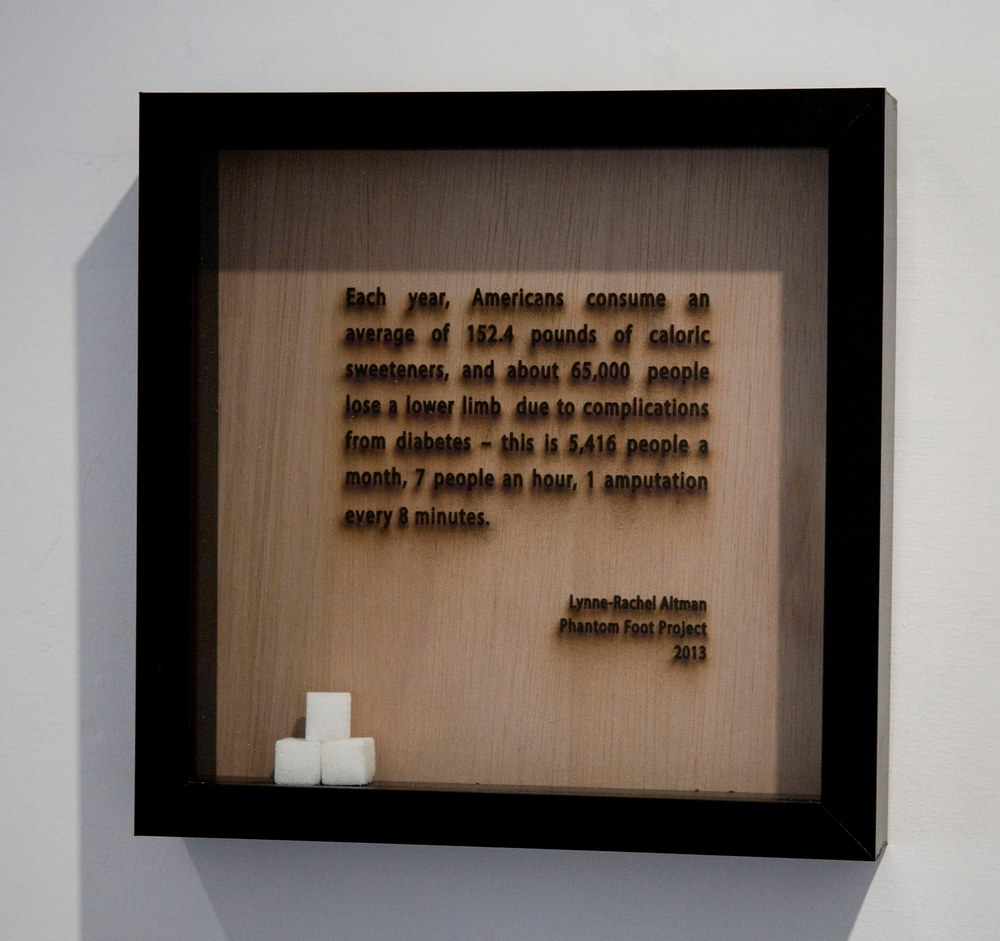 Lynne-Rachel Altman Statistics, 2013 laser cut wood and sugar cubes, framed 10 x 10 inches