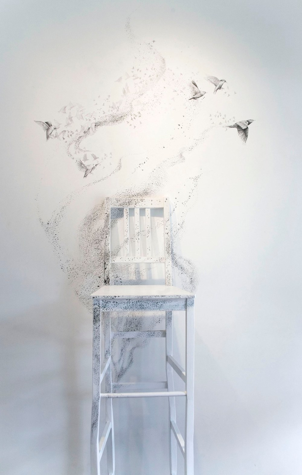 Sheila Ghidini Murmuration, 2012 reassembeled chairs dimensions variable