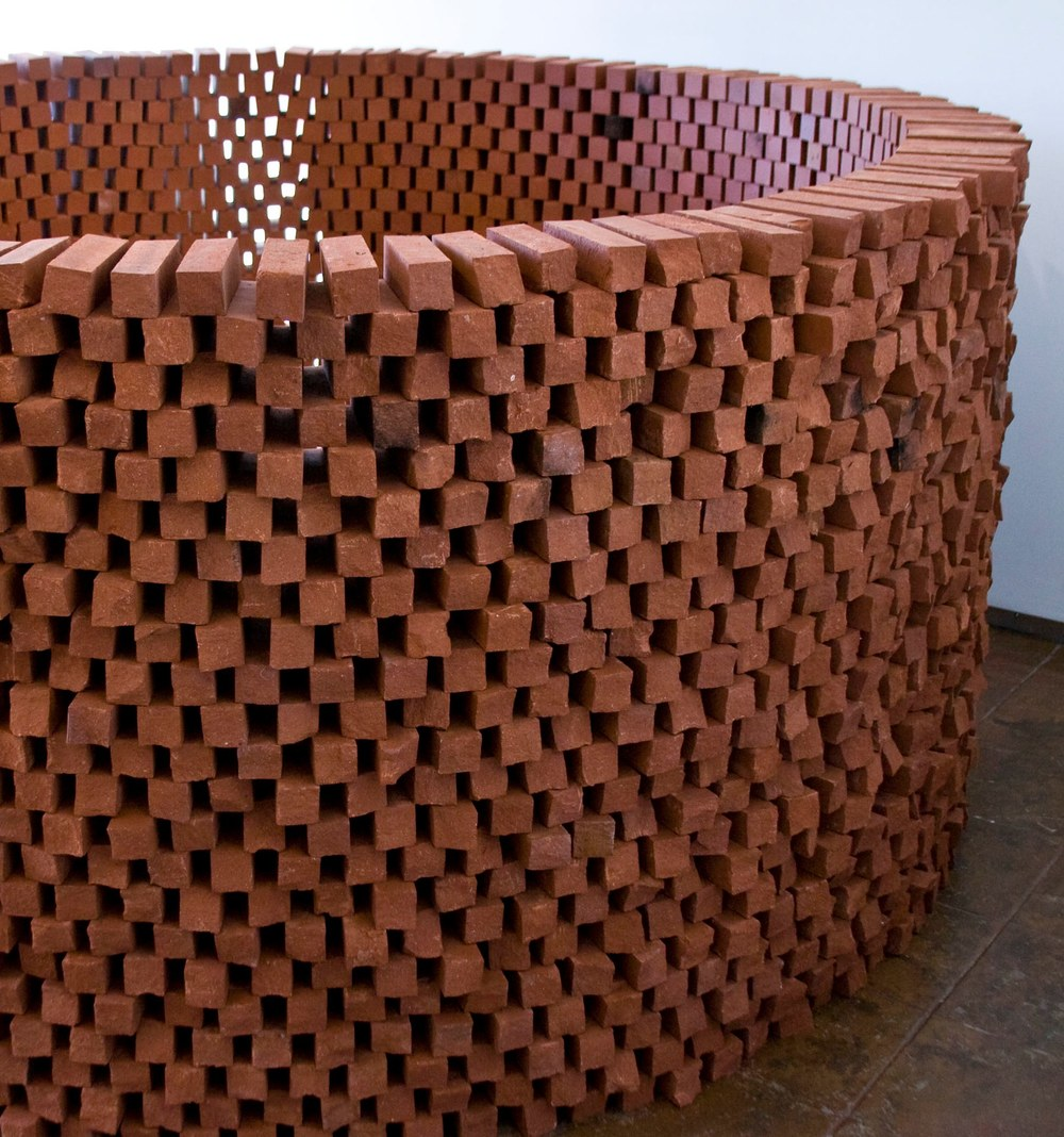 Randy Colosky A Hollow Gesture, detail, 2012 custom size bricks 5' high x 7' diameter circle