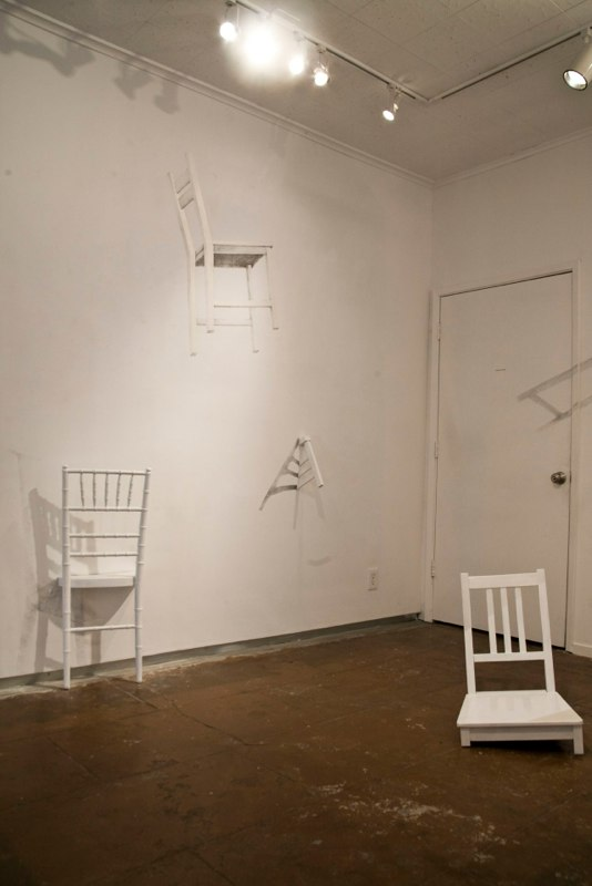 Sheila Ghidini In a Field of Emerging Forms, 2012 Installation, wood chairs and wall drawing (shadows) variable size