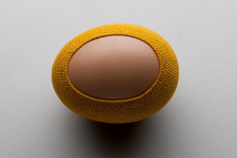 Esther Traugot Egg, 2011 egg shell, crocheted cotton thread 2.25in l x 1 5/8in w x 1.75in h
