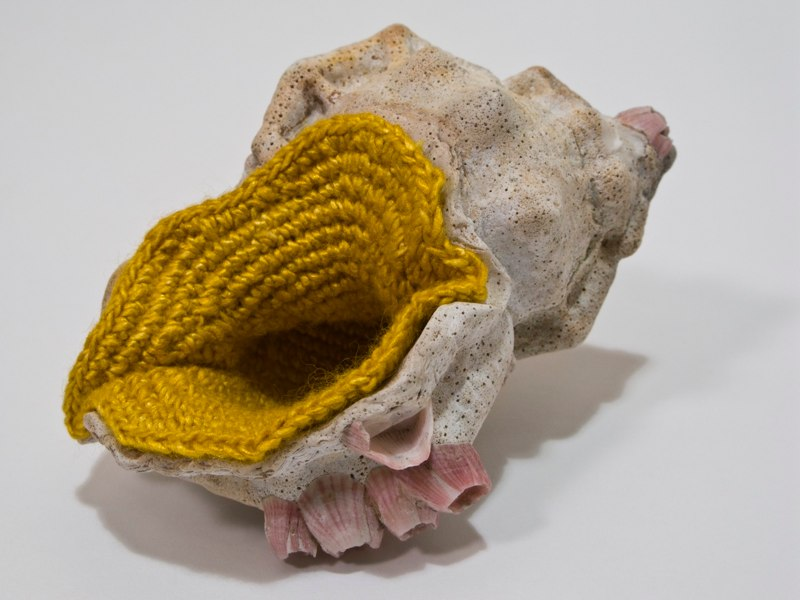 Esther Traugot Home Again 2,  side view, 2012 shell, crocheted hand-dyed bamboo yarn 3 x 2 x 2 inches