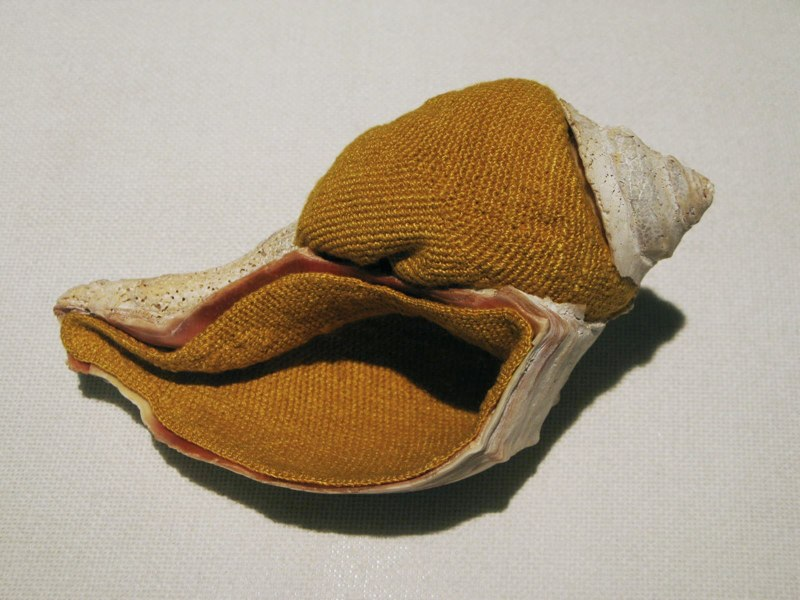 Esther Traugot Home Again, 2011 shell, crocheted hand-dyed bamboo yarn 7.5 x 5 x 4 inches