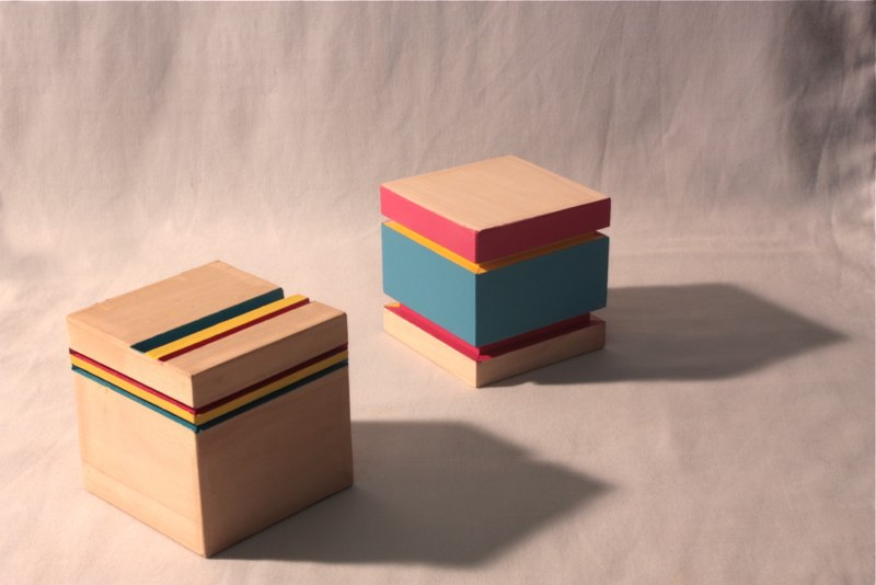 Brian Caraway Feeling So Special (left) Always So Special (right), 2012 polychrome wood 4 x 4 x 4 inches