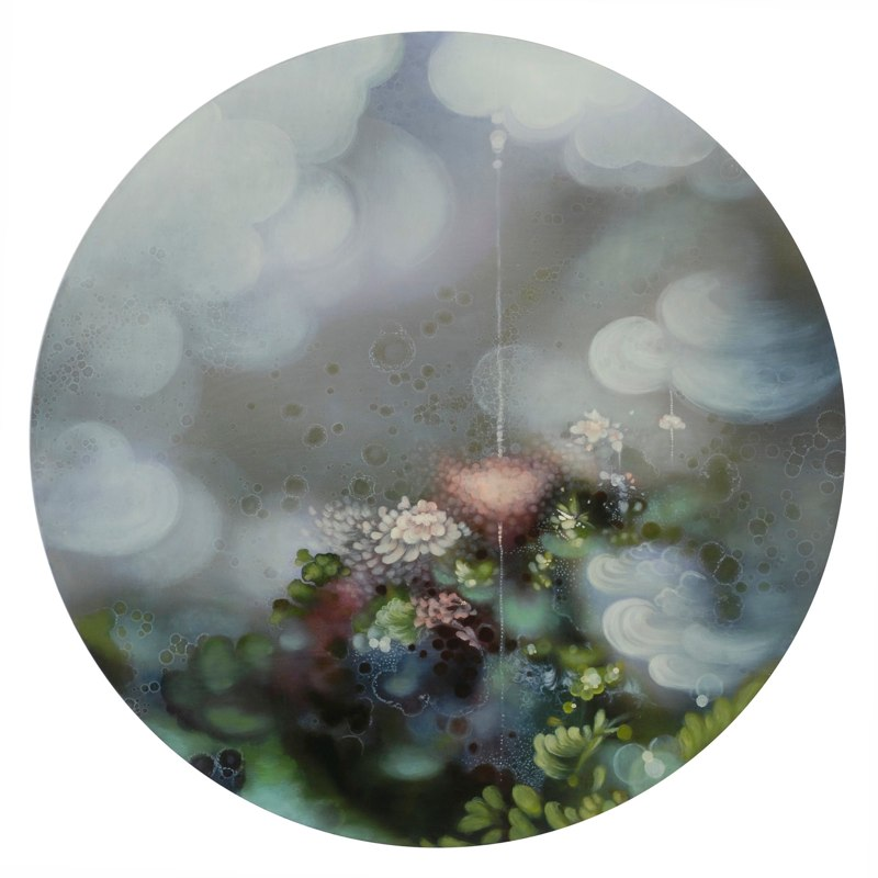 Jenn Shifflet Dreamscape Blooms, 2011 acrylic and oil on wood panel 30 inches diameter