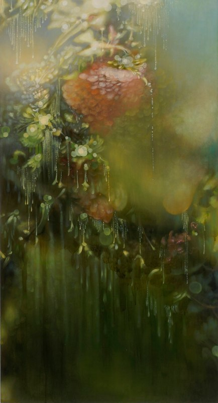 Jenn Shifflet Falling Freely, 2011 acrylic and oil on wood panel 48 x 26 inches
