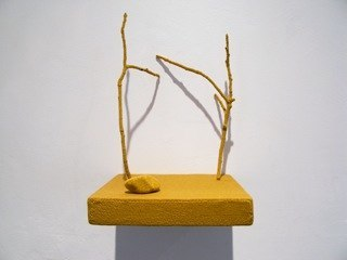 Esther Traugot Untitled(Shelf), 2010 wood shelf, two twigs, small rock, hand-dyed cotton thread 7.5 x 5 x 5 inches