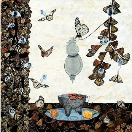 Veronica Rojas Altar a las Mariposas Monarcas, 2009 mixed media on canvas 48 x 48 inches