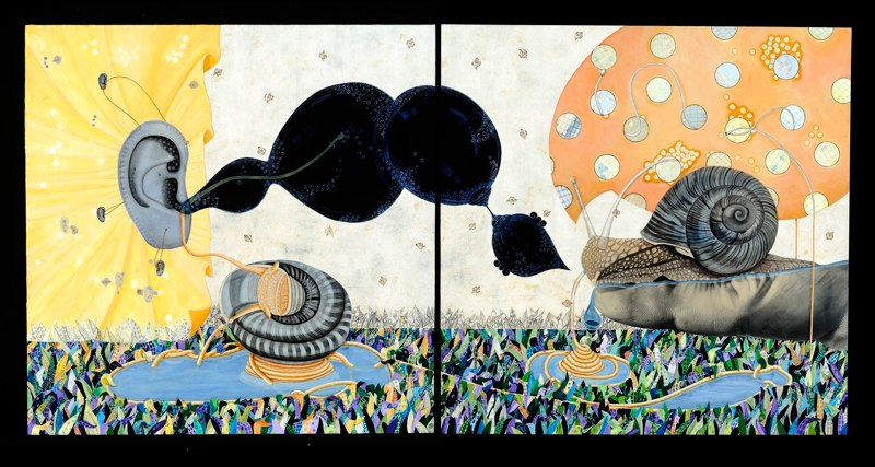Veronica Rojas Encuentros de un Caracol, 2010 mixed media on canvas 48 x 96 inches