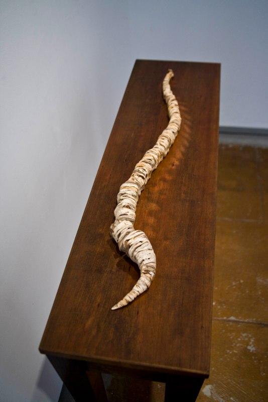 Kerry Vander Meer 490 Grams, 2003 potatoes on wood table 28.5 x 36 x 10inches