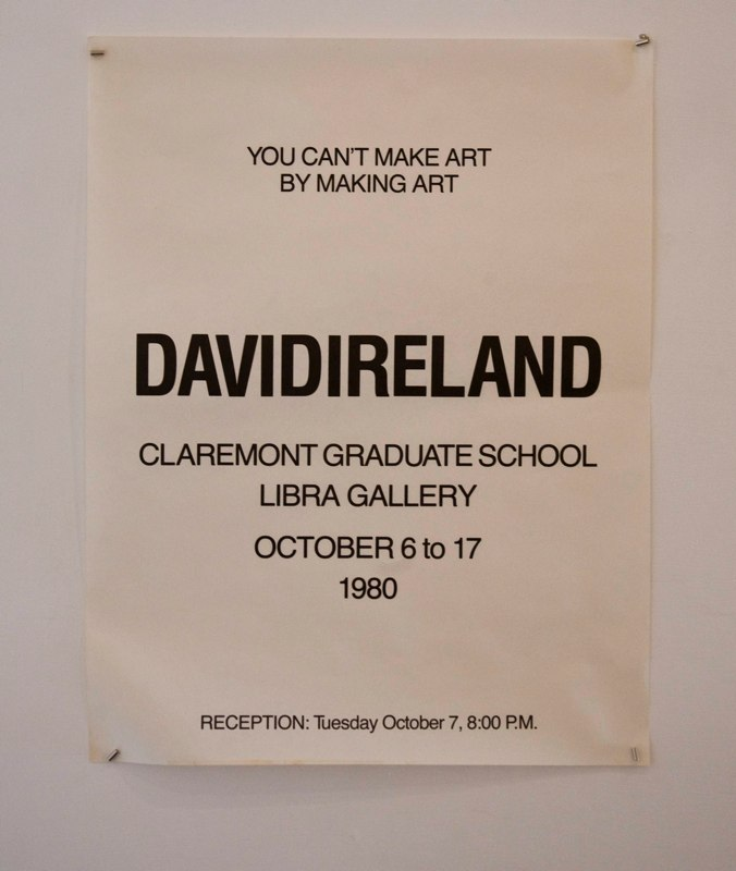 David Ireland You Can't Make Art By Making Art, 1980 poster