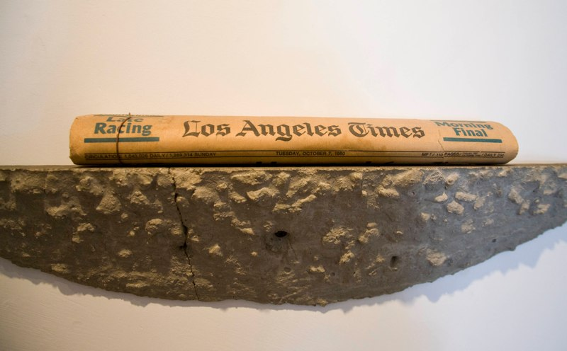 David Ireland You Can't Make Art By Making Art, 1980 Concrete shelf and Los Angeles Times dated October 7th, 1980