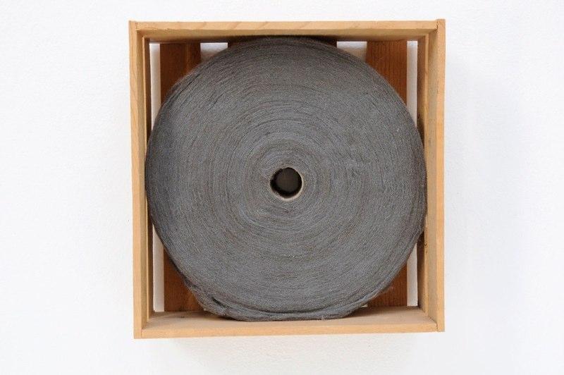 Mari Andrews Spool, 1996-2001 steel wool, wooden box 10.5 x 10.5 x 3.75 inches