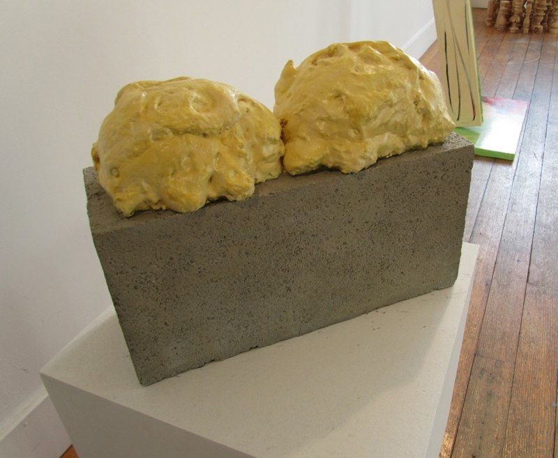 Randy Colosky Cinderblock with Great Stuff Expansion Foam, 2010  cast bronze and paint 15 x 8 x 11inches