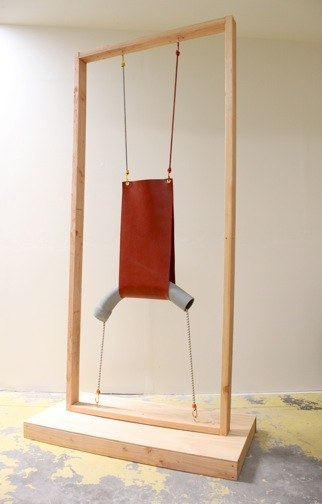 Daniel Nevers Gestalt Theory, 2011  vinyl, pvc pipe, wood, bungee cords, eye screw hooks  57 x 34 x 10 inches
