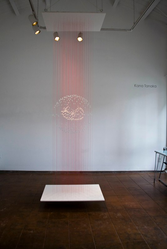 Kana Tanaka Expectations, 2011 glass and thread 120 x 30 x 40 inches