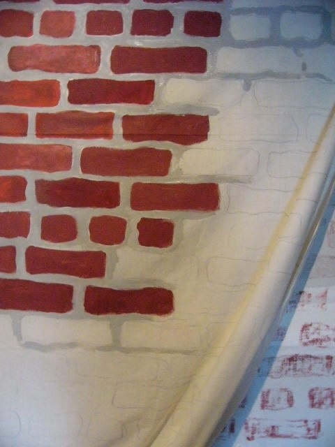 Claudia Tennyson BrickCurtain. 2011  acrylic on cotton.  approximately 9 x 16 feet