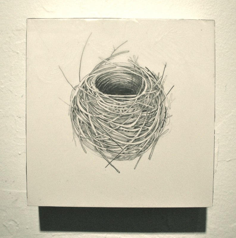 Sheila Ghidini Nest 47, 2010 graphite and beeswax on wood 6 x 6 x 2 inches