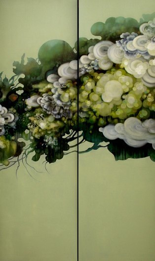 Jenn Shifflet Verdant Bloom, 2010 oil on 2 panels 60 x 36 inches