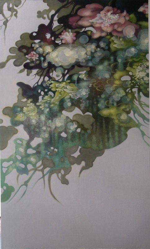 Jenn Shifflet Floating Petal Drifts oil on panel 60 x 36 inches