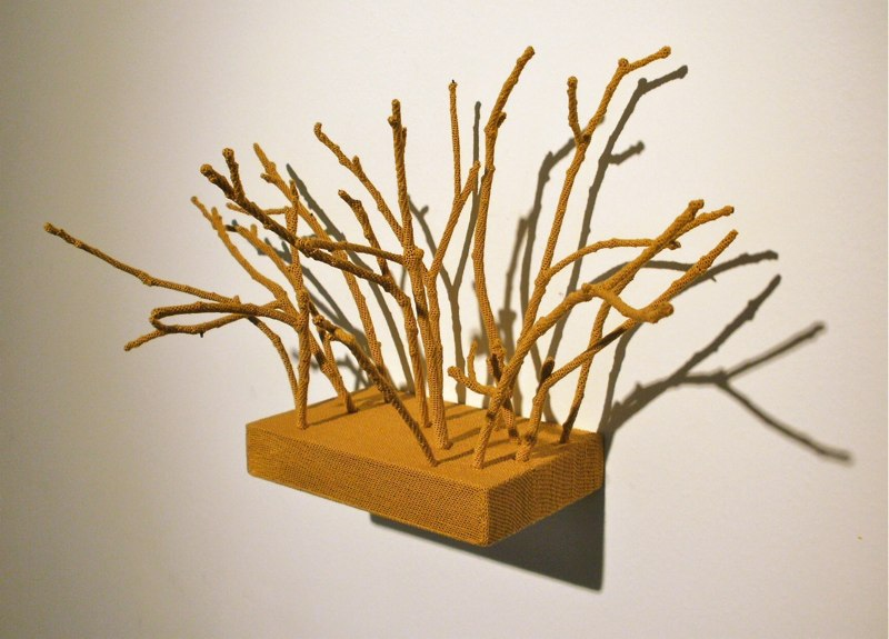 Esther Traugot Back Yard, 2010 thread, sticks, wood shelf 13 x 5 x 6.75 inches
