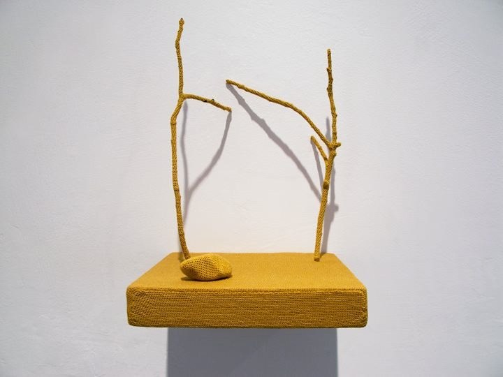 Esther Traugot Untitled (shelf with twigs and rock) thread, twigs, wood shelf 7.5 x 5 x 5 inches