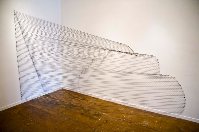 Sabine Reckewell Angle into Curve  (Claremont studio), 1981, 2011. Grey wool and nails  4 x 7 x 8 feet