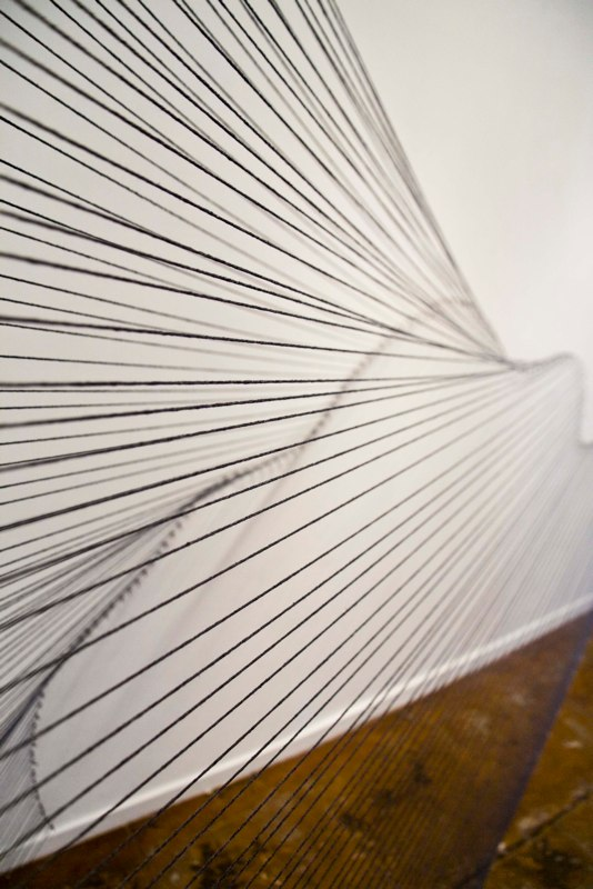 Sabine Reckewell Angle into Curve  (Claremont studio), Detail, 1981, 2011. Grey wool and nails  4 x 7 x 8 feet