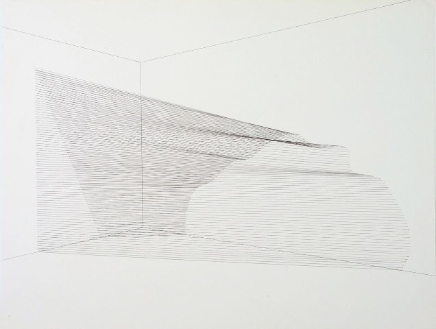 Sabine Reckewell Angle into Curve  (Claremont studio), 1981. Black ink drawing on paper. 23 x 29 inches