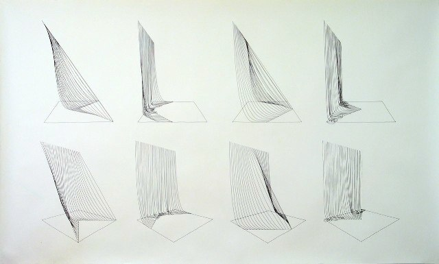 Sabine Reckewell  Four variations of piece for  black strings, 1979. Black ink drawing on paper. 42 x 70 inches