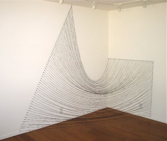 Sabine Reckewell  Installation with black string  (Napa studio), 2010 Black string and nails.,reconstruction of original piece on opposite walls