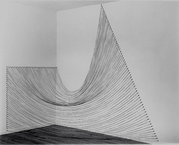 Sabine Reckewell Installation with black string  (Claremont studio),1980 Black string, nails 4 x 8 x 8 feet