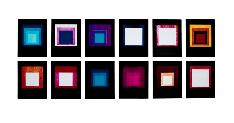 Jason Kalogiros Hommage au Carre, Cool White 40 watt Albers 1, 2010 12 unique photograms each 17 x 14 inches,  36 x 96 inches overall