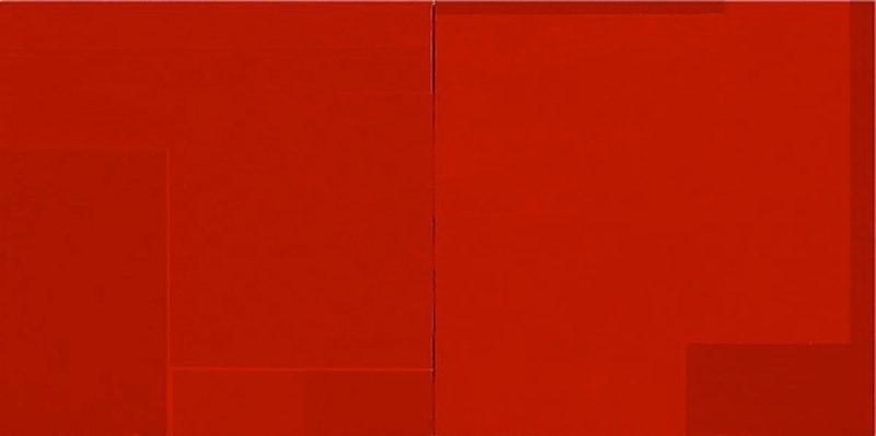 Macyn Bolt Red Pivot II, 2010 acrylic on wood 22 x 44 inches